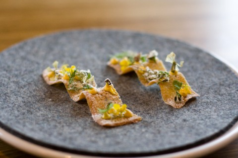 Toast, herbs, smoked cod roe and vinegar