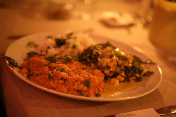 Mrs W.'s saag paneer with dahl and basmati rice